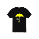Yellow Umbrella Letter Printed Short Sleeve Round Neck Tee for Juniors