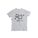 Cute Cartoon Cat Printed Short Sleeve Round Neck Top