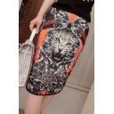 3D Animal Printed Elastic Waist Midi Pencil Black Skirt