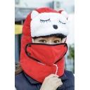 Cute Cartoon Animal Printed Colorblock Mask Unisex Hooded Hat