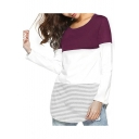 New Arrival Colorblock Stripes Printed Long Sleeve Round Neck Leisure Tee