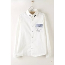 White Cartoon Cat Embroidered Pocket Patched Lapel Collar Long Sleeve Button Down Cotton Shirt