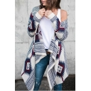 Street Style Long Sleeve Open Front Waterfall Collar Tribal Printed Longline White Coat