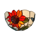 Simple Sunflower Theme Tiffany Art Glass Wall Washer for Dining Room 10