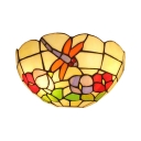 Flower and Dragonfly Theme Double Light Tiffany Wall Lamp for Restaurant 12-Inch Wide