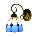 Mini Geometric Wall Sconce Tiffany Style Stained Glass Accent Wall Light in Blue/Orange/Pink