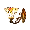 Antiqued Brass Floral Wall Sconce Tiffany Style Stained Glass Wall Light for Bedroom Corridor