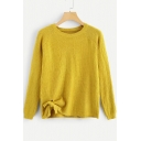 Unique Knotted Side Round Neck Long Sleeve Solid Loose Leisure Yellow Sweater