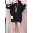 Girls' New Trendy Letter Pattern Long Sleeve Loose Fitted Tunic Cotton Hoodie