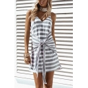 V Neck Spaghetti Straps Stripes Printed Mini Tie Waist Gray Shift Dress
