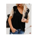 Trendy Sequined Short Sleeve V-Neck Casual Leisure T-Shirt