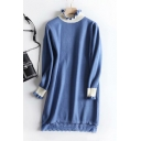 Hot Sale Long Sleeve Mock Neck Colorblock Lace Patched Mini Shift Knit Dress