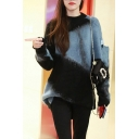 Fashion Blue and Black Colorblock Two-Tone Long Sleeve Crewneck Mohair Sweater