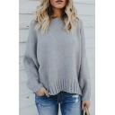 New Arrival Long Sleeve Round Neck Plain Hollow Out Tie Back Knit Sweater