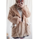 New Arrival Long Sleeve Toggle Cute Cartoon Bear Hooded Longline Light Coffee Faux Fur Coat