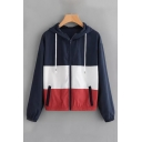 Autumn's New Trendy Long Sleeve Colorblock Zip Closure Navy Hooded Jacket