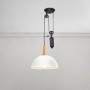 Wood Dome Shade Hanging Lamp Loft Style Suspension Light in White with Adjustable Pulley