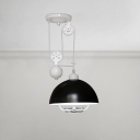 Pulley Dome Shade Suspended Light Industrial Steel Lighting Fixture in Black