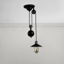 Adjustable Wire Guard Suspended Light Vintage Hanging Lamp in Black for Bar Counter