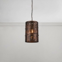 Cylinder Pendant Light Industrial Retro Style Iron Drop Light for Restaurant Foyer