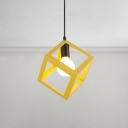 Square Metal Frame Suspended Light Colorful Industrial Metal Hanging Light for Mall