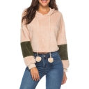 Apricot Colorblock Long Sleeve Pom Pom Embellished Leisure Hoodie