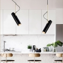 Rotatable Tube Track Pendant Light Contemporary Aluminum Single Head Spotlight for Kitchen Bedside Cafe