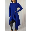 Hot Popular Long Sleeve Solid High Low Hem Longline Cape Hoodie