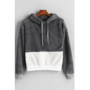 Gray Warm Fleece Long Sleeve Colorblock Casual Loose Short Hoodie