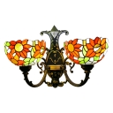 Double Heads Sunflower Sconce Light Tiffany Style Stained Glass Accent Wall Lamp for Hallway