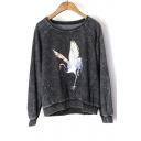 Stylish Chic Round Neck Long Sleeve Crane Printed Burnout Sweatshirt