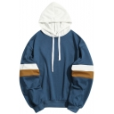 Color Block Drawstring Hood Loose Fit Cotton Hoodie for Men