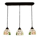Pink Rose Suspended Light Tiffany Traditional Stained Glass 3 Lights Pendant Lamp for Bedroom