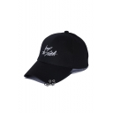 Black Letter Embroidered Grommet Detail Black Baseball Cap Hat