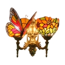 Flower and Butterfly Wall Sconce Tiffany Style Stained Glass 2 Heads Wall Lighting in Multicolor