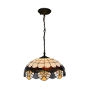 Dome Suspended Lamp Tiffany Traditional Glass 1 Light Suspended Light in Multi Color