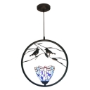 Dragonfly Suspended Lamp Tiffany Style Blue/Yellow Glass 1 Light Pendant Light with 2 Birds