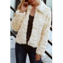 Cool Warm Plush Long Sleeve Lapel Collar Zip Closure Faux Fur Beige Coat