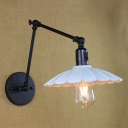 Adjustable 1 Bulb Scalloped Wall Light Industrial Metal Wall Mount Light in White for Coffee Shop