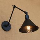 Adjustable 1 Light Cone Wall Light Loft Style Simple Iron Wall Mount Light in Black