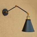 Swing Arm Small Wall Sconce Retro Style Steel Single Light Wall Light Fixture in Brass