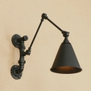 Retro Style Cone Wall Light Small Adjustable Steel Single Light Wall Mount Fixture in Black