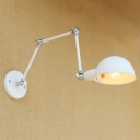 Single Bulb Semicircle Sconce Light Industrial Metal Wall Mount Light in White for Library