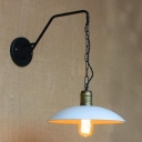 Metal Dome Suspension Wall Sconce Loft Style 1 Bulb Lighting Fixture in White for Staircase