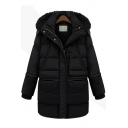 Longline Long Sleeve Zip Placket Plain Thick Hooded Cotton Padded Coat