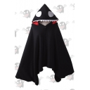 Winter Single Button Design Warm Black Hooded Cape Coat