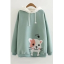 Lovely Long Sleeve Cartoon Cat Pattern Colorblock Drawstring Hoodie