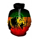 3D Abstract Lion Pattern Long Sleeve Colorblock Men's Green Hoodie