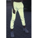 Women's Hip Hop Style Elastic Waist Luminous Gray Sports Track Pants
