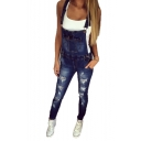 Women's Dark Blue Fashion Ripped Detail Skinny Fit Overall Jeans